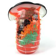 Sale 8607R - Lot 12 - Ribbed Multi-coloured Art Glass Vase (H: 31cm)