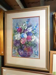 Sale 8627 - Lot 2060 - D Marten Floral Still Life, mixed media on paper, 110 x 83cm (frame), signed lower right