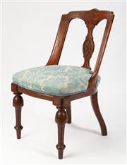 Sale 8651A - Lot 83 - A set of 6 antique English walnut carved back chairs c. 1875. The shaped Athenian raked backs with a carved and shaped vertical spla...