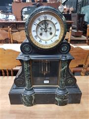 Sale 8868 - Lot 1048 - Late 19th Century French Black Slate & Serpentine Marble Mantle Clock, with white recessed enamel dial & visible anchor escapement,...