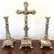 Sale 8878T - Lot 53 - Ecclesiastical Metal Alter Set, Comprising of Crucifix and Pair of Candle Sticks Height of Crucifix - 36cm, Height of Candlesticks ...