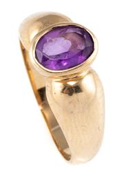 Sale 8899 - Lot 332 - A 9CT GOLD AMETHYST RING; rub set with an oval cut amethyst of approx. 0.90ct, size N, wt. 3.34g.