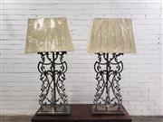 Sale 9080 - Lot 1007 - Pair of metal filigree table lamps