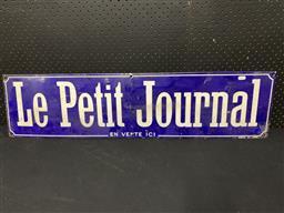 Sale 9117 - Lot 1013 - Vintage French enamel Le Petit Journal sign (h:25 x w:100cm)
