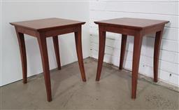 Sale 9154 - Lot 1077 - Pair of timber side tables (h:50 x w:39 x d:39cm)