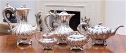 Sale 9190H - Lot 81 - Excellent quality Antique James Dixon silverplate 5 piece tea and coffee service C: 1900, each of the melon shaped pieces with hand...