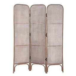 Sale 9250T - Lot 70 - A rattan pole folding screen with webbing in grey wash. Height 170cm x Width 135cm x Depth 3cm