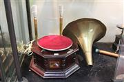 Sale 8304 - Lot 74 - His Masters Voice Gramophone with 2 Lamps