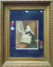 Sale 8653 - Lot 1053 - Gilt Framed Chromolithograph Print of Queen Victoria with Medals, for the jubilee Victoria the Good & May God Preserve Our Queen...