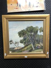 Sale 8789 - Lot 2085 - Artist unknown - Two Figures and Beachscape, oil on canvas on board, 46 x 48cm, unsigned