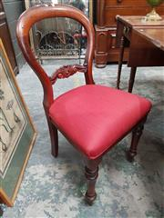 Sale 8868 - Lot 1104 - Set of Four 19th Century Cedar Balloon Back Chairs, with red upholstered seats and turned legs