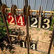 Sale 8878T - Lot 54 - Vintage Lawn Bowls Score BoardConstructed of metal with adjustable stand Height - 100cm approx