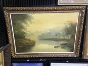 Sale 9050 - Lot 2031 - Artist Unknown, River scene, oil on canvas, frame: 77 x 107 cm, signed lower left