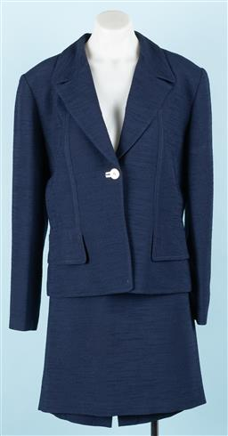 Sale 9092F - Lot 22 - A DARK BLUE COVERS SUIT; with faux pockets to front. Size 14 Bust 96 Waist 76 Hip 104cm