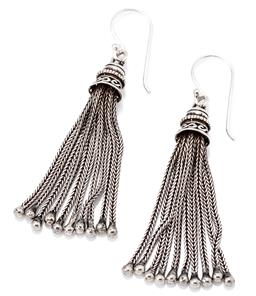 Sale 9149 - Lot 362 - A PAIR OF SILVER TASSEL EARRINGS; foxtail link chain drops to shepherds hook fittings, length 54mm, wt. 9.15g.