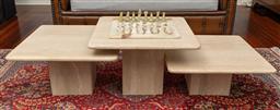Sale 9256H - Lot 7 - A set of three graduating pedestal travertine marble side tables, tallest H 40cm x W 60cm x 60cm.