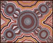 Sale 8374 - Lot 551 - Freddy West Tjakamarra (c1940 - 1994) - Nunkari Kutjarra - Two Doctors, 1976 60.5 x 75.5cm (framed & ready to hang)