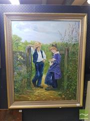 Sale 8544 - Lot 2028 - Framed Work: Artist Unknown Courting Acrylic on Board