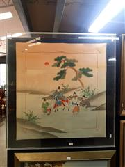 Sale 8695 - Lot 2029 - Chinese Watercolour on Silk, 82 x 77.5cm frame