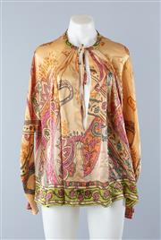 Sale 8800F - Lot 57 - A Scanlan & Theodore printed silk peasant blouse, size s-m