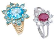 Sale 8937 - Lot 307 - TWO GEMSET CLUSTER RINGS; a 14ct cluster centring an oval cut blue topaz to surround of round and pear cut topaz and 4 round brillia...