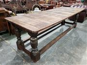 Sale 9031 - Lot 1085 - Good Charles II Oak Refectory Table, with later parquetry top, on solid turned baluster legs, joined by stretchers (H:77 x L:254 x W...