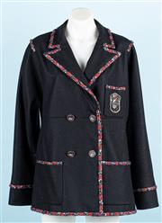 Sale 9083F - Lot 26 - A CHANEL BLAZER/ JACKET; double breasted black wool and cashmere with silk lining, embroidered and beaded chest patch pocket, CC log...