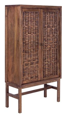 Sale 9250T - Lot 72 - A tall fruitwood cocktail cabinet with woven rattan doors & inside wine storage in honey brown wash. Height 165cm x Width 90cm x Dep...