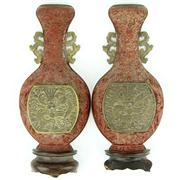 Sale 8314 - Lot 67 - Imperial Cinnabar Pair of Wall Vases