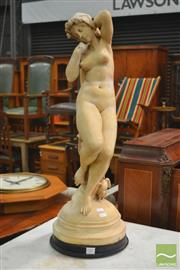 Sale 8317 - Lot 1002 - Antique Style Resin Figure of a Nude with Owl Attribute, after Ch Voeck?