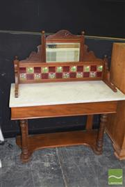 Sale 8390 - Lot 1100 - Marble Top Wash Stand with Tiled Back