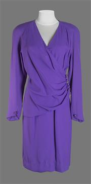 Sale 8493A - Lot 28 - A vintage purple Nina Ricci dress with ball beads on front side, poly blend, size 42
