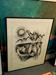 Sale 8631 - Lot 2067 - A. Dahl Original Pastel, Signed