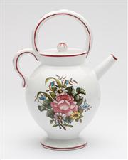 Sale 8660A - Lot 100 - A French pottery lidded jug with double loop handle, painted with a spring bouquet, butterflies and a ladybird. H 24cm