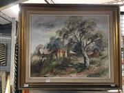 Sale 8720 - Lot 2050 - Joyce Harris - Homestead Mudgee, oil on canvas board, 39.5 x 49.5cm, signed lower left -