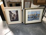 Sale 8833 - Lot 2027 - Group of (4) works incl: Italian Scene Watercolours by Patricia Johnstone, Nola Tegal and Julie Simmons, plus a Decorative Print