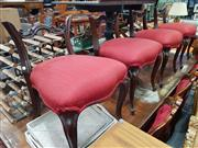 Sale 8868 - Lot 1526 - Set of Four Red Upholstered Rosewood Dining Chairs