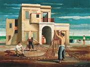 Sale 9032A - Lot 5086 - Jeffrey Smart (1921 - 2013) - Net Menders 42.6 x 54.7 cm