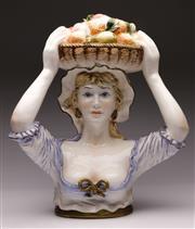Sale 9078 - Lot 72 - A Capodimonte Ceramic Figural Fruit Carrier H: 47cm