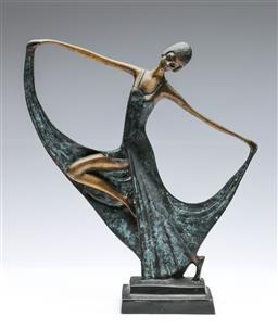 Sale 9093 - Lot 41 - Art Deco Style Brass Dancer With Bronze Finish (H33.5cm)