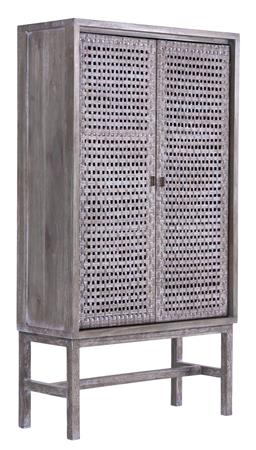 Sale 9250T - Lot 73 - A tall mindi wood cocktail cabinet with woven rattan doors in grey wash. Height 165cm x Width 90cm x Depth 38cm