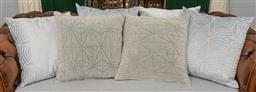 Sale 9256H - Lot 11 - A quantity of 6 eggshell blue patterned and plain scatter cushions, largest 50cm x 50cm.