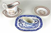 Sale 8330T - Lot 91 - Victorian Dolls Dinner Wears; Edge and Malkin Fishers sauce boat on stand and plate, Mintons Willow pattern platter and unmarked...