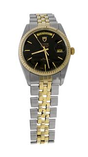 Sale 8439A - Lot 98 - A vintage Tudor Oyster Prince (President) Automatic Quick Set Day Date steel and gold mens wristwatch, Ref. 9450, original Tudor ba...