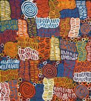 Sale 8478A - Lot 5035 - Betty Mbitjana (1955 - ) - Bush Melon - Awelye 105 x 95cm