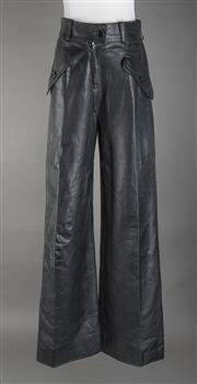 Sale 8493A - Lot 30 - A pair of vintage Valentino black leather pants, tear on front pocket, size 6-8