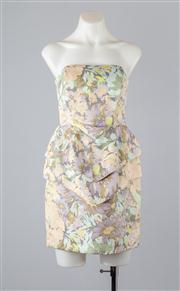 Sale 8685F - Lot 37 - A Zimmermann printed silk-blend strapless cocktail dress with tiered peplum panels and internal boning, size 1