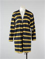 Sale 8740F - Lot 42 - A Carla Zampatti navy and gold lurex cardigan with brass tone buttons, approx size 10