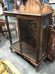 Sale 8787 - Lot 1094 - Timber Display Cabinet with Two Glass Panel Doors on Cabriole Legs