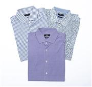 Sale 8770F - Lot 64 - Three as-new Hugo Boss shirts; the first in blue and mustard yellow paisley (size XL), the second and third both in gingham and size...